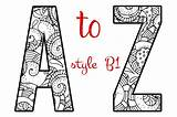Alphabet Letters Coloring B1 Mandala Letter Creative Printable Fonts Creativemarket Mandalas Objects Artistic Lettering Template Sheets Colorear B2 Market Afkomstig sketch template