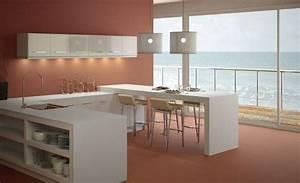Plan De Travail Ilot : cuisine plan de travail en lot de cuisine moderne clair ~ Premium-room.com Idées de Décoration