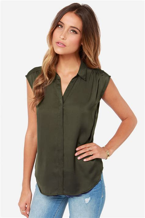 olive green blouse button up top olive green top sleeveless top 42 00