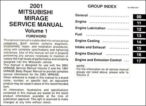 motor auto repair manual 2001 mitsubishi mirage on board diagnostic system 2001 mitsubishi mirage repair shop manual set original