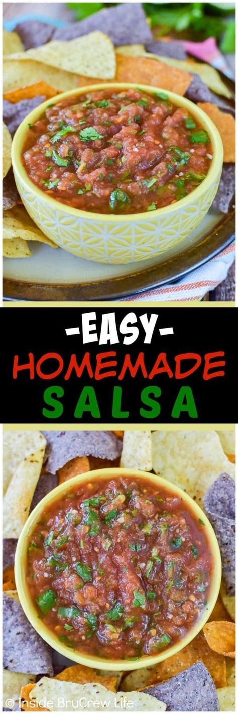 Homemade salsa can also be frozen for later use. Easy Homemade Salsa - use onions, cilantro, and canned tomatoes for the best salsa! Great dip ...