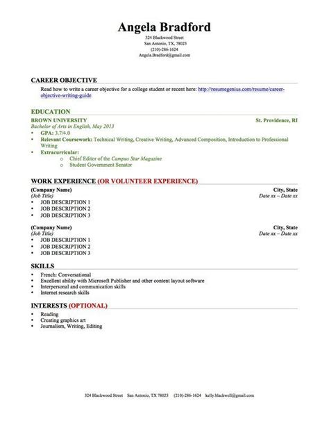 Resume Tips For College Students by College Student Resume Education Work Experience Student