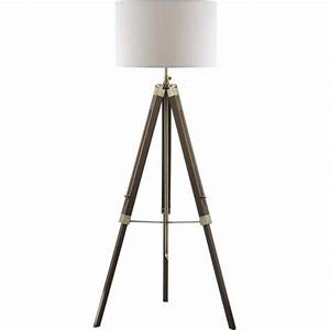 tripod or easel like floor standing lamp with white linen With contemporary dark wood floor lamp with shade