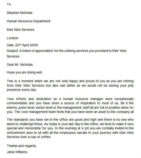 retirement letter    documents   word