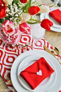 Valentine's Day Table Setting with Envelope Napkin Fold  Valentines