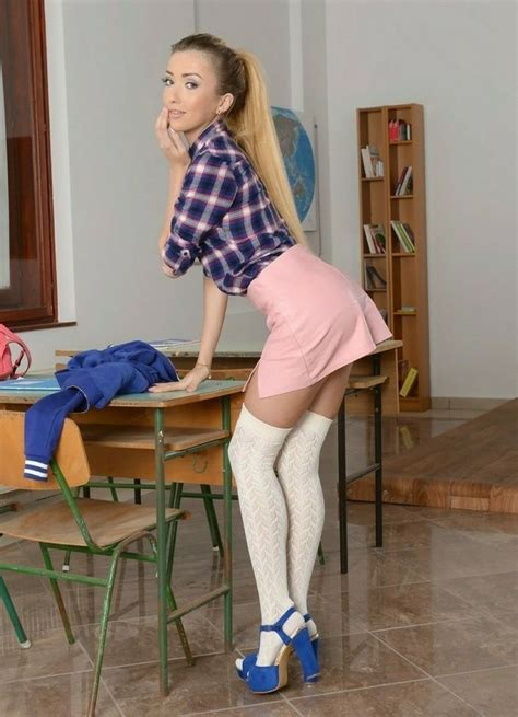 Pin on Girls in short Skirts and high Heels