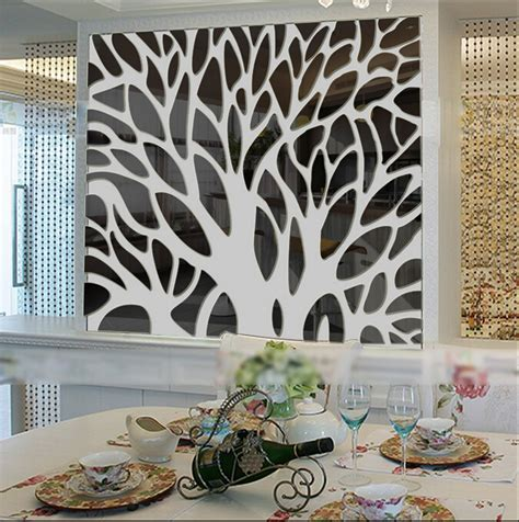 2015 3d large tree mirror wall stickers mirror stickers acrylic stickers for living room