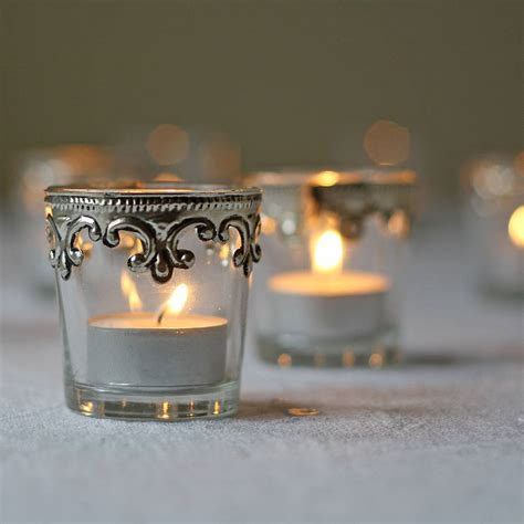 what is a tea light set of two silver and glass tea light holders by the