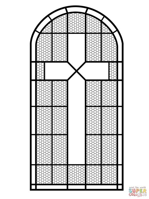 Kleurplaat Crossen by Cross Stained Glass Window Coloring Page Free Printable