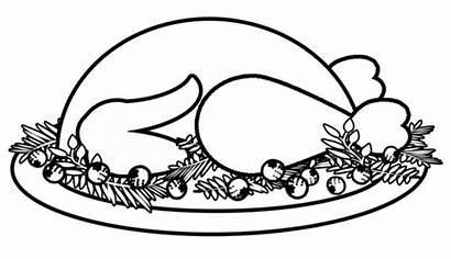 Turkey Dinner Coloring Drawing Thanksgiving Pages Cooked