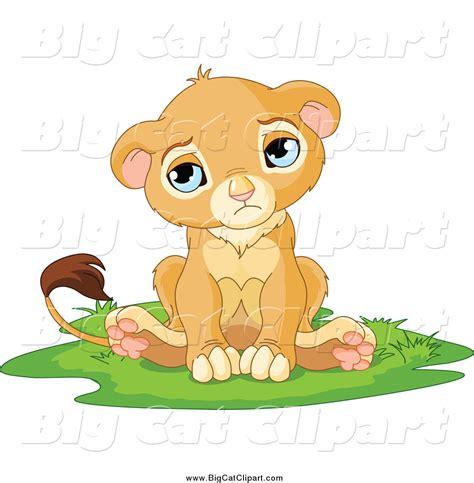 big cat cartoon vector clipart   sad cute  lion