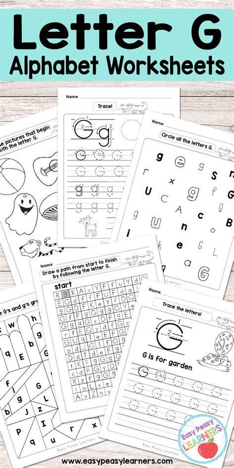 Letter G Worksheets  Alphabet Series  Easy Peasy Learners