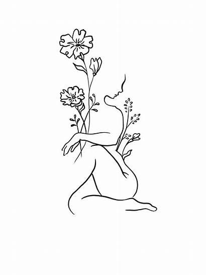 Tattoo Minimalist Line Woman Drawings Tattoos Flower