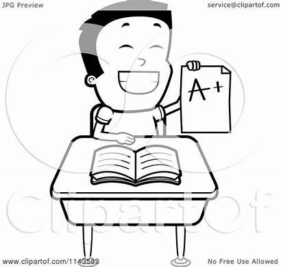Smart Boy Sitting Desk Cartoon Clipart Report