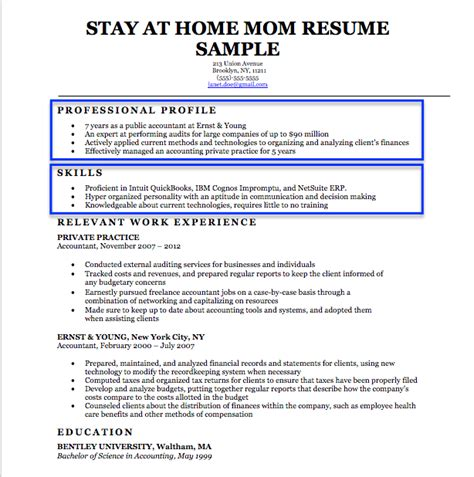 Chronological Resume For Stay At Home by Stay At Home Resume Exles Vvengelbert Nl