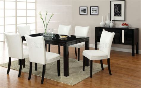 cmbk  lamia  black dining table woptional white chairs