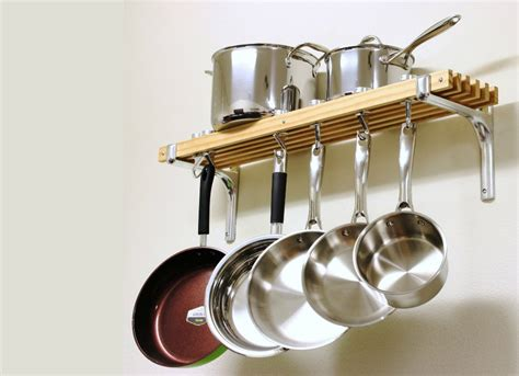 small pot rack wall mounted pot rack small kitchen decorating ideas