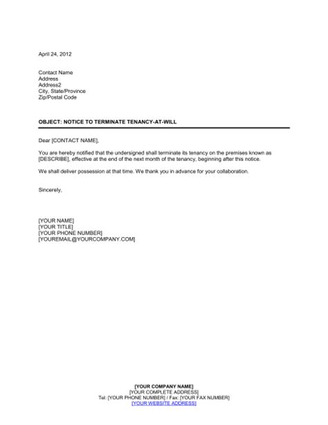notice  terminate tenancy    tenant template