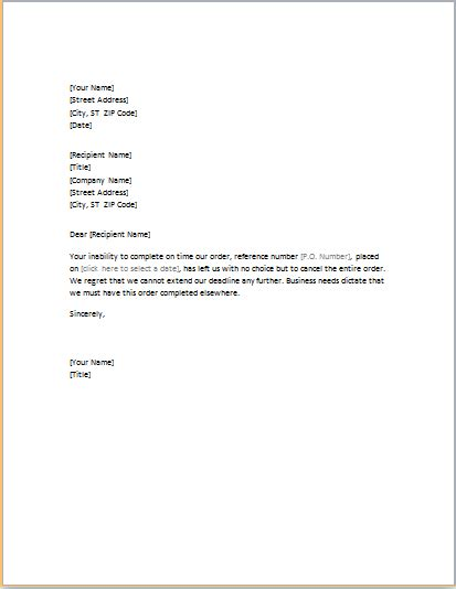 order cancelling letter word template word excel templates