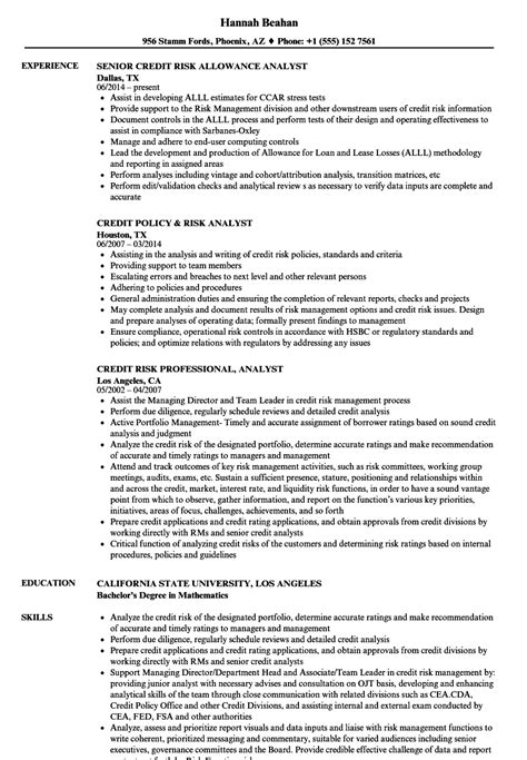 Senior Credit Analyst Resume by Risk Credit Analyst Resume Sles Velvet