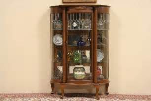 curved leaded glass 1900 antique oak curio display cabinet