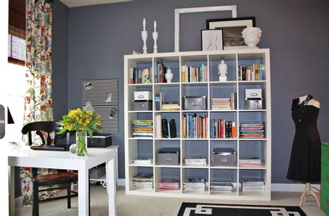 office desk with bookcase and shelving home office
