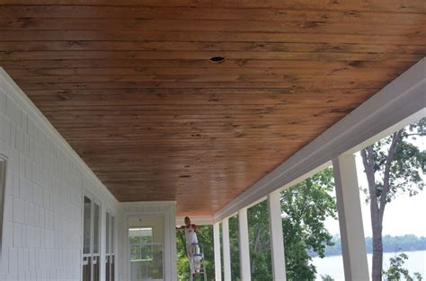 Stained Beadboard Porch Ceiling :  Stone And Porch Ceilings