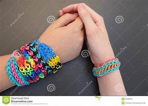 Loom Band Bracelet On A Young Girls' Forearms Stock Image ...