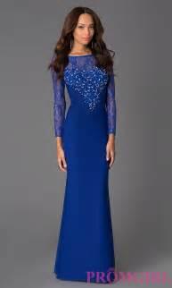 Blue Long Sleeve Lace Prom Dress