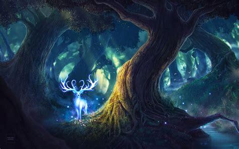 wallpaper magic forest fairies deer hd  creative