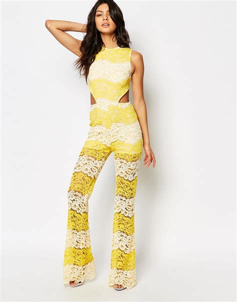 womens yellow jumpsuit foxiedox mona panelled lace jumpsuit in yellow lyst