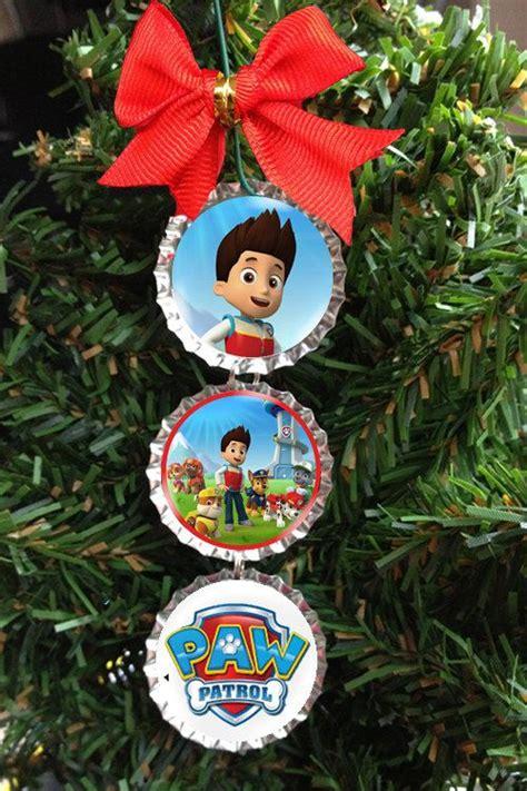 paw patrol christmas tree ornament bottle cap holiday