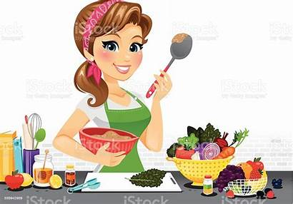 Cooking Kitchen Clipart Vector Woman Chef Cook