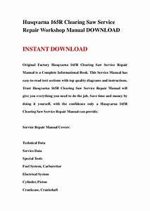 Husqvarna 165r Clearing Saw Service Repair Workshop Manual