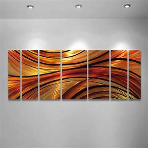 quotmiragequot 68quotx24quot large modern abstract metal wall art With orange wall decor