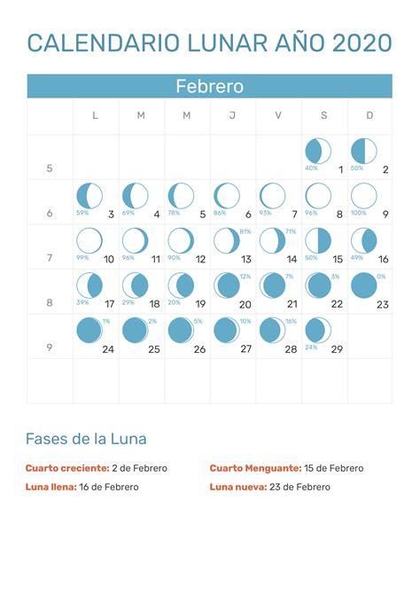 calendario lunar febrero ano fases lunares