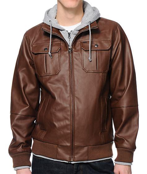 foto de Obey Rapture Brown Faux Leather Hooded Jacket Zumiez