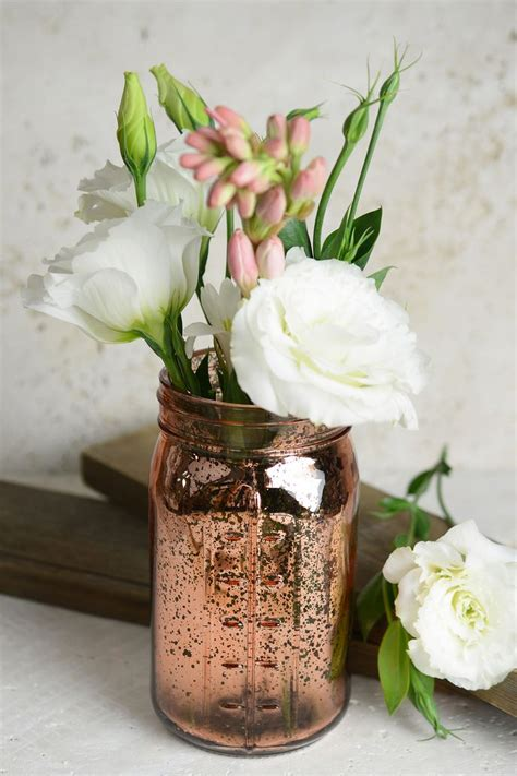 Pink Rose Gold Mercury Glass Mason Jars Mercury Glass