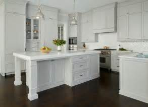 light gray painted kitchen cabinets with glossy white