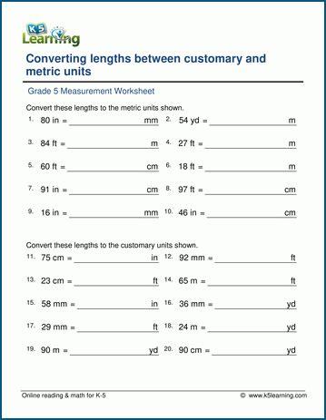 metric unit conversion worksheet 5th grade