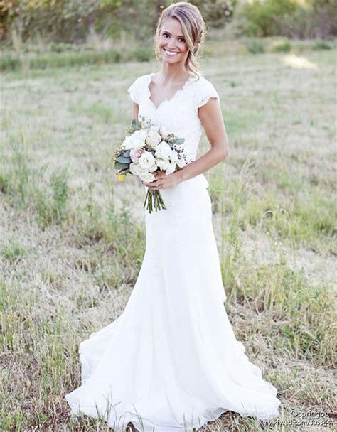 Rustic Lace Weddingdresses Cap Sleeves Long Sheath Weding