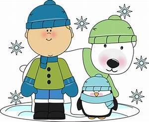 Boy with Penguin and Polar Bear Clip Art - Boy with ...