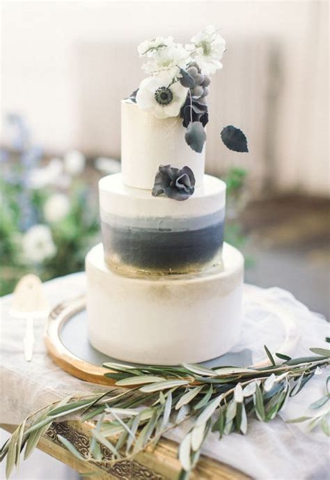 picture   elegant black grey  white wedding cake
