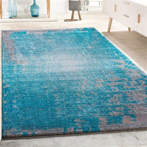designer teppich wohnzimmer vintage mit splash muster in grau t 252 rkis meliert teppiche vintage