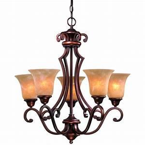 Five light old world bronze chandelier