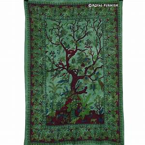 Green twin tree of life wall decor fabric tapestry