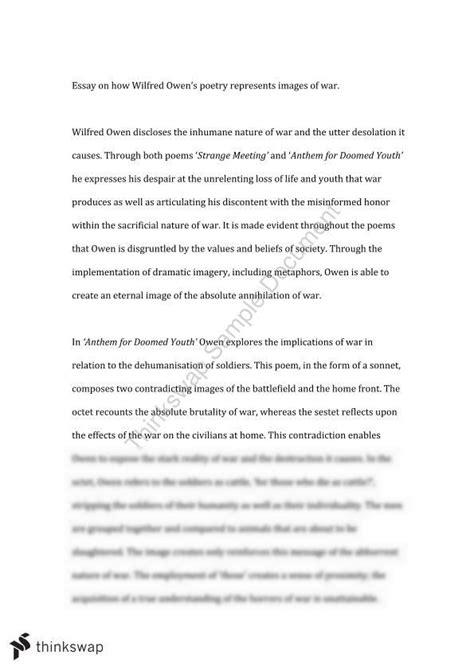 Wilfred Owen Essay - Anthem for Doomed Youth and Strange