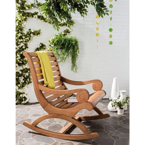 outdoor patio rocking chairs safavieh sonora teak brown outdoor patio rocking chair