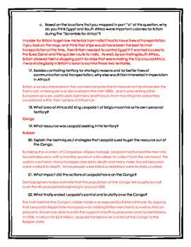 the scramble for africa worksheet answers scramble for africa imperialism in africa webquest
