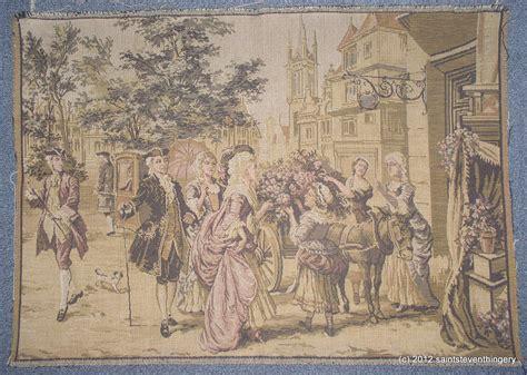 antique belgium tapestry ladies gentlemen flower cart